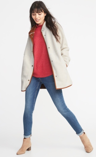 Long Sherpa Faux-Suede Lined Coat by Old Navy