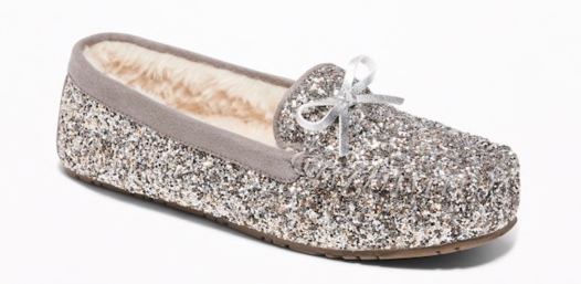 Glitter Sherpa-Lined Moccasin Slippers by Old Navy