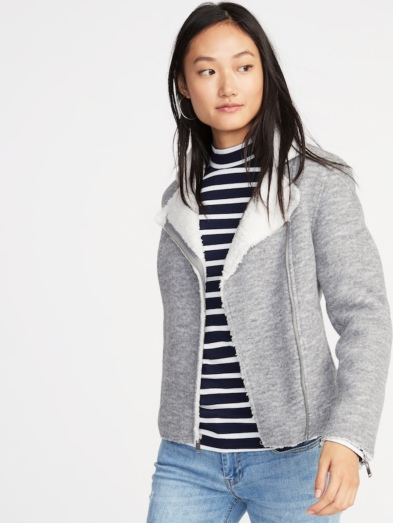Sherpa-Lined Moto Jacket for Women by Old Navy