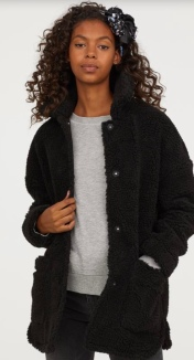 Pile Jacket in Black by H&M